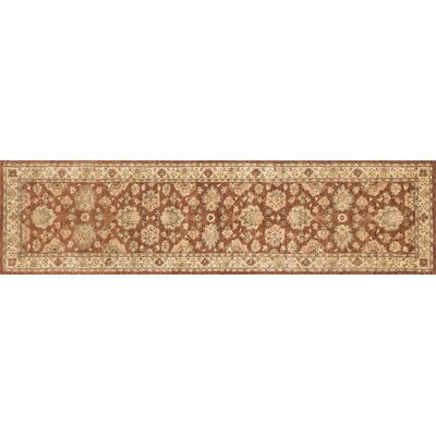 Durden Hand-Knotted Rust/Ivory Area Rug Rug Size: Runner 26 x 10