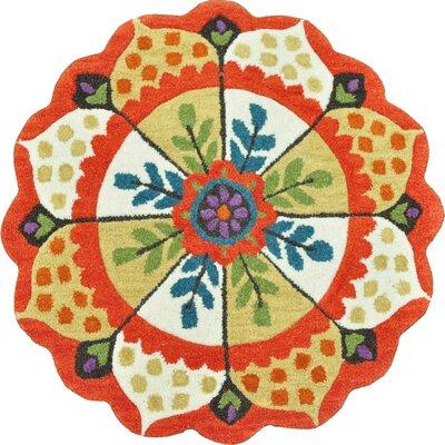 Azalea Hand-Tufted Red/Beige Area Rug Rug Size: Round 3