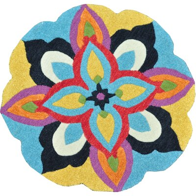 Azalea Hand-Tufted Blue and Multi Area Rug Rug Size: Round 3