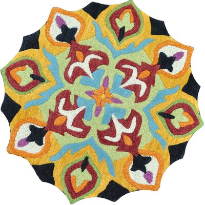 Azalea Hand-Tufted Blue/Yellow Area Rug Rug Size: Round 3