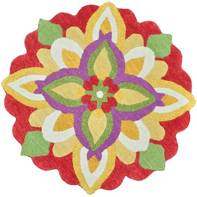 Azalea Hand-Tufted Red/Green/Yellow Area Rug Rug Size: Round 3