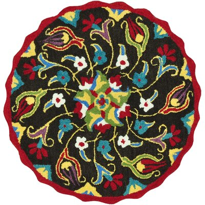 Azalea Hand-Tufted Red/Green/Blue Area Rug Rug Size: Round 3