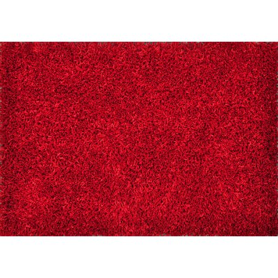 Carrera Shag Hand-Tufted Red Area Rug Rug Size: 79 x 99