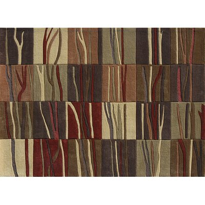Grant Hand-Tufted Brown/Red/Ivory Area Rug Rug Size: 36 x 56