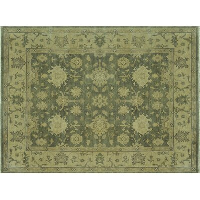 Vernon Hand-Knotted Green/Ivory Area Rug Rug Size: Rectangle 96 x 136