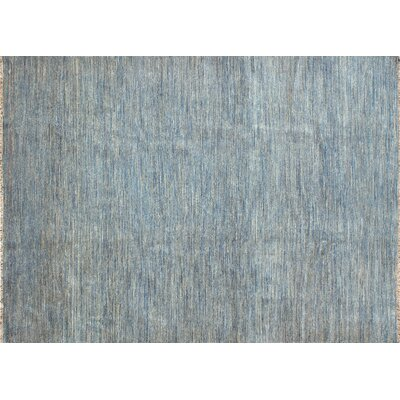 Transo Hand Knotted Wool Blue Area Rug Rug Size: 56 x 86