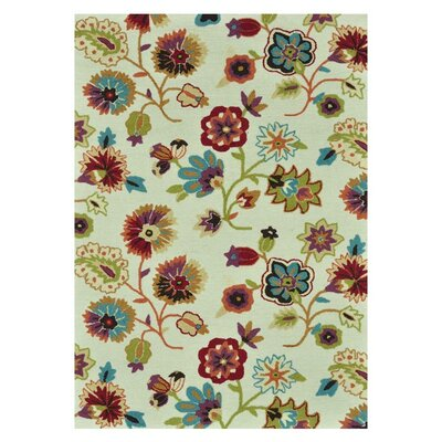 Juliana Floral Hand-Hooked Ivory Area Rug Rug Size: 5 x 76