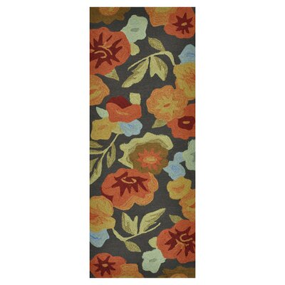 Summerton Hand-Hooked Dark Brown/Orange Area Rug Rug Size: 2 x 5