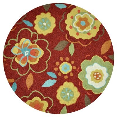 Summerton Hand-Hooked Red/Yellow Area Rug Rug Size: Round 3