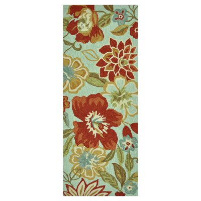 Summerton Hand-Hooked Mist/Red Area Rug Rug Size: 2 x 5