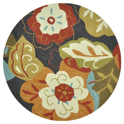Summerton Hand-Hooked Brown/Red Area Rug Rug Size: Round 3