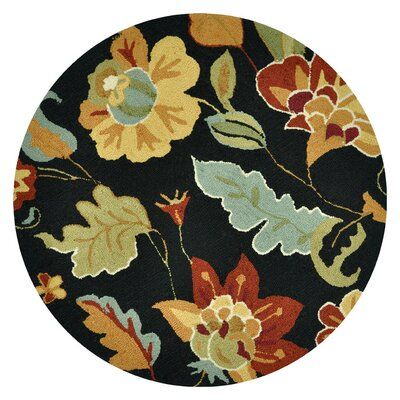Summerton Hand-Hooked Black/Brown Area Rug Rug Size: Round 3