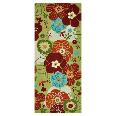 Summerton Hand-Hooked Lime/Red Area Rug Rug Size: 2 x 5