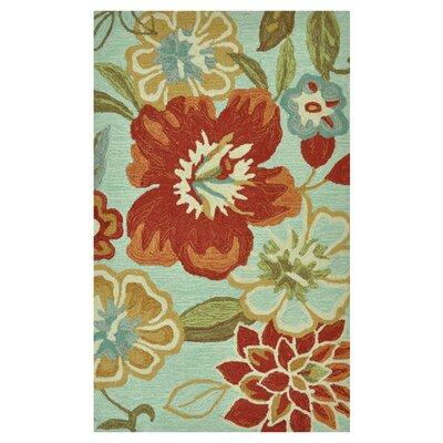 Summerton Hand-Hooked Mist/Red Area Rug Rug Size: 76 x 96