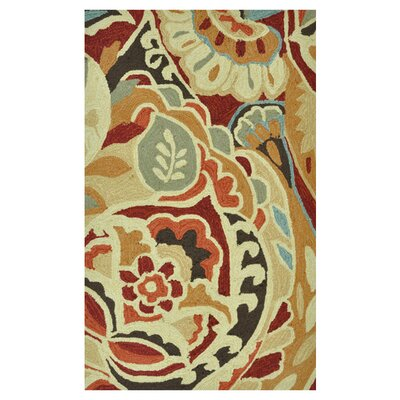 Summerton Hand-Hooked Red/Brown Area Rug Rug Size: 76 x 96