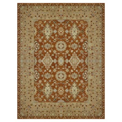 Elmwood Hand-Tufted Rust/Light Gold Area Rug Rug Size: 5 x 76