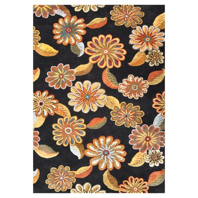 Willow Hand-Tufted Black/Orange Area Rug Rug Size: Rectangle 5' x 7'6
