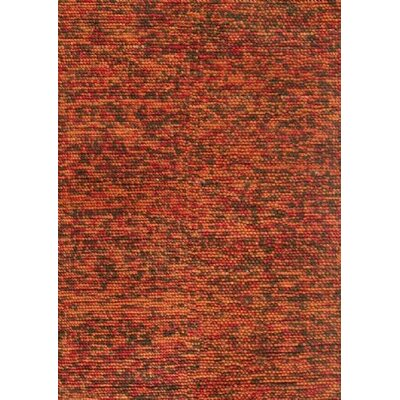 Clyde Hand-Woven Rust/Brown Area Rug Rug Size: 36 x 56