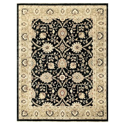 Majestic Hand-Knotted Black/Ivory Area Rug Rug Size: Round 8