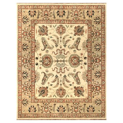 Majestic Hand-Knotted Ivory/Gold Area Rug Rug Size: Rectangle 3 x 5