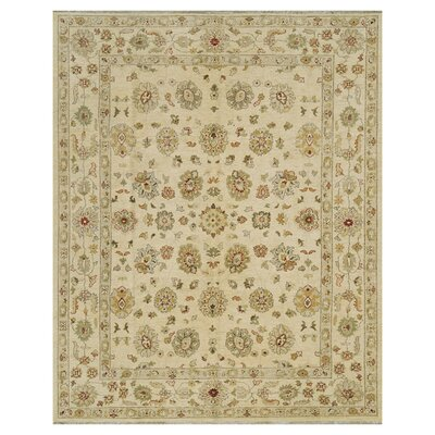 Majestic Hand-Knotted Ivory Area Rug Rug Size: Rectangle 79 x 99