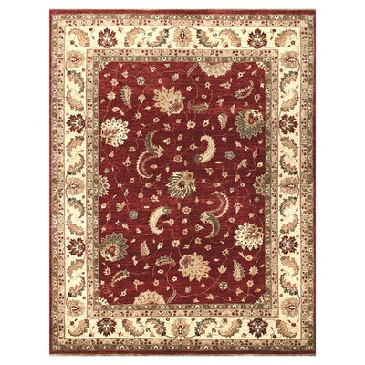 Majestic Hand-Knotted Red/Ivory Area Rug Rug Size: Rectangle 86 x 116