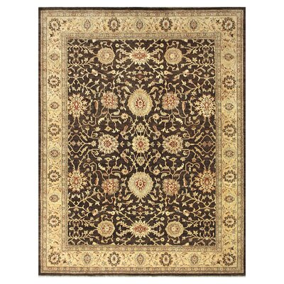 Majestic Hand-Knotted Chocolate/Gold Area Rug Rug Size: Round 8