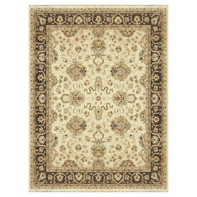 Majestic Hand-Knotted Ivory/Mocha Area Rug Rug Size: Rectangle 12 x 15