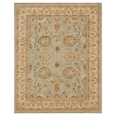 Majestic Hand-Knotted Slate/Beige Area Rug Rug Size: Rectangle 4 x 6