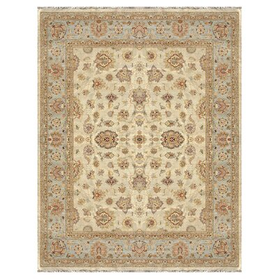 Majestic Hand-Knotted Ivory/Blue Area Rug Rug Size: Rectangle 2 x 3