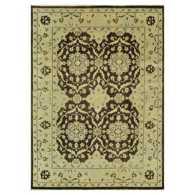 Vernon Hand-Knotted Brown/Light Green Area Rug Rug Size: 96 x 136