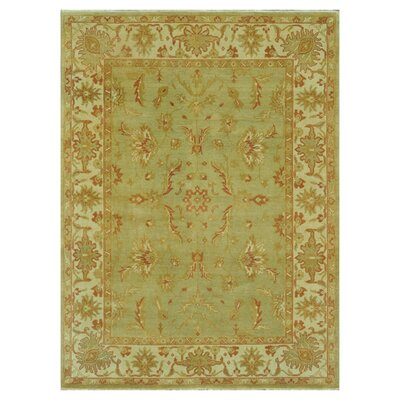 Kirtley Hand-Knotted Green/Olive Area Rug Rug Size: Rectangle 56 x 86