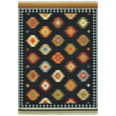 Isara Hand-Woven Black/Orange/Red Area Rug Rug Size: 36 x 56