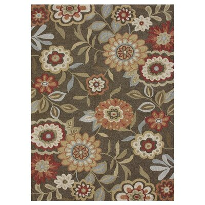 Francesca Hand-Hooked Brown/Green Area Rug Rug Size: 36 x 56