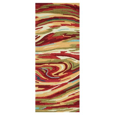 Grenkie Hand-Hooked Red/Brown Area Rug Rug Size: Rectangle 2 x 5