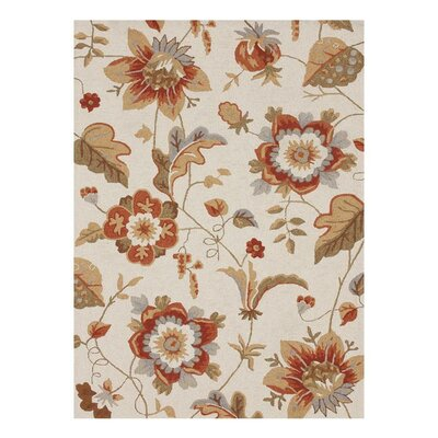 Francesca Hand-Hooked Ivory/Brown Area Rug Rug Size: 36 x 56
