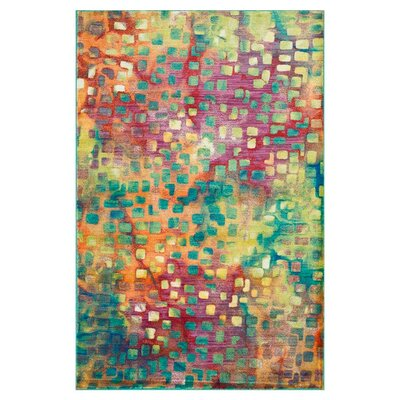 Thoi Blue/Red Area Rug Rug Size: Rectangle 77 x 105