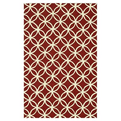 Venice Beach Hand-Hooked Rust/Ivory Indoor/Outdoor Area Rug Rug Size: Rectangle 76 x 96