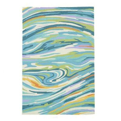 Olivia Hand-Hooked Teal Area Rug Rug Size: 36 x 56