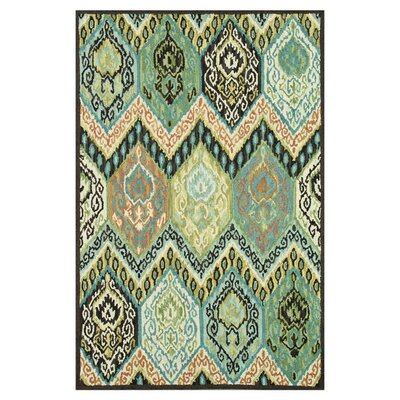 Keffer Hand-Hooked Blue/Black Area Rug Rug Size: Rectangle 36 x 56
