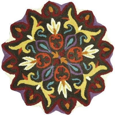 Hoban Hand-Tufted Black Area Rug Rug Size: Round 3