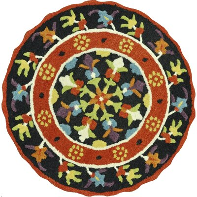 Gardenia Hand-Tufted Black/Orange Area Rug Rug Size: Round 3'