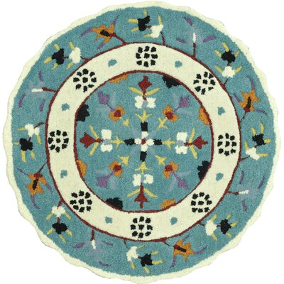 Gardenia Hand-Tufted Teal/Ivory Area Rug Rug Size: Round 3