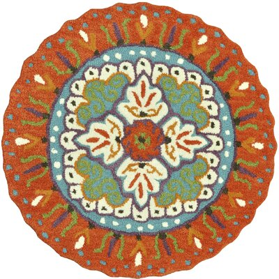 Gardenia Hand-Tufted Orange/Blue Area Rug Rug Size: Round 3'