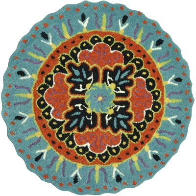 Gardenia Hand-Tufted Teal/Black Area Rug Rug Size: Round 3