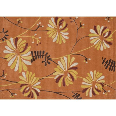 Grant Hand-Tufted Orange Area Rug Rug Size: 5 x 7