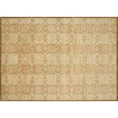 Kennith Hand-Knotted Beige Area Rug Rug Size: Rectangle 12 x 15