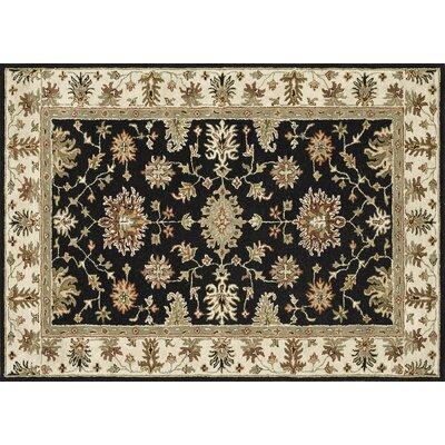 Fairfield Hand-Woven Black/Ivory Area Rug Rug Size: 76 x 96