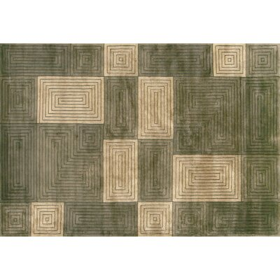 Heninger Hand-Knotted Olive/Sage Area Rug Rug Size: Rectangle 86 x 116