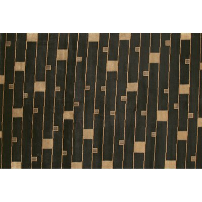 Floyd Hand Knotted Wool Black/Beige Area Rug Rug Size: 79 x 99